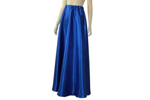 satin skirt royal blue bridesmaid maxi formal skirt