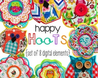 NEW Digital Clip Art --  Happy Hoots Collection (Instant Download)