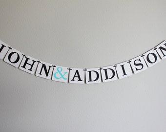 engagement banner - bridal shower banner - bridal shower decorations - custom wedding decorations - name banner