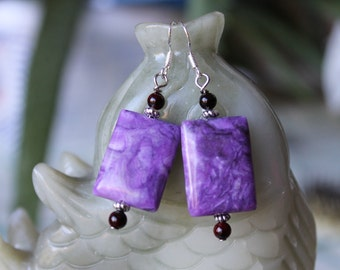 Beautiful Pink Purple Rectangle Crazy Lace Agate Earrings, sterling silver hook