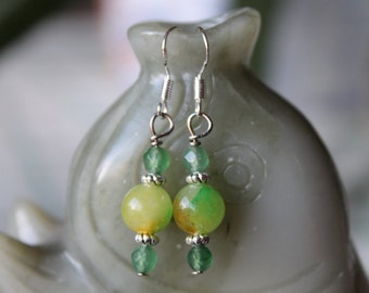 Small Yellow Jade Earrings, sterling silver hook