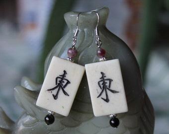 Mahjong Tile OX Bone Earrings, sterling silver hook