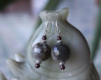 Faceted Labradorite Earrings, sterling silver hook
