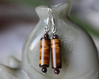 Long Column Tiger Eye With Red Garnet Earrings, sterling silver hook