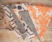 HALLOWEEN Burlap Bunting/Banner Black Chevron, Herringbone, Orange Damask, Vintage Type Keys