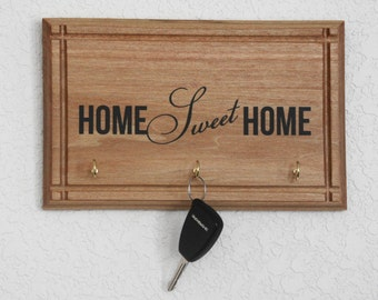 """Handcrafted Wood Plaque Home Sweet Home Key Holder - 10""""x8"""" Decor Sign Wonderful New Home Gift with hooks  great size for the small room"""