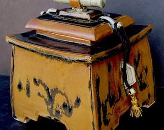 SALE Square Stoneware Memorial Cremation Funerary urn Sedona Midnight 200 Cu. in.