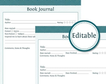 Book Journal - Fillable - Instant Download - Printable Organizational PDF