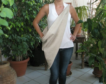 Handmade beige hip bag