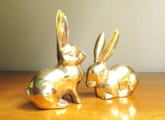 Vintage Brass Rabbit Figurines Gold Bunny By