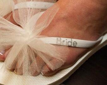 Free USA Shipping! Custom BRIDE Wedding Flip Flops, BACHELORETTE Party, Bride, Personalized Tulle Flip Flops, Bridal Gifts, Beach Weddings