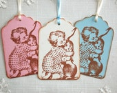 Easter Tags, Victorian Style Boy w/ Bunny -Set of 6 Vintage Style Gift Tags/ Easter Bunny Tags (gift wrap, favor tags)