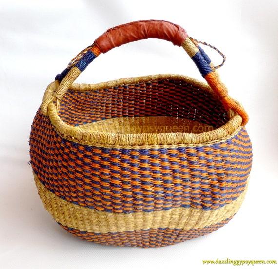 Elephant Grass Basket Handmade In Ghana Picnic Basket