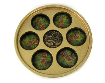Vintage Tin Tray New York Souvenir Round Drink Serving Tray Map Gold with Pine Cones Gold Green Retro Barware Wall Decor Collectible