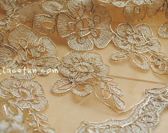 gold alencon lace fabric, Ivory lace with gold flowers, bridal lace, vintage lace fabric, luxury lace