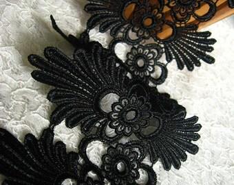 black Lace Trim, venise lace trim, scalloped lace trim, trim lace