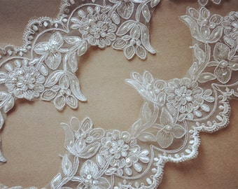 ivory Bridal Lace trim, beaded Alencon Lace Trim, wedding lace, silver embroidered lace, trim lace, scalloped lace trim CGDZ046B