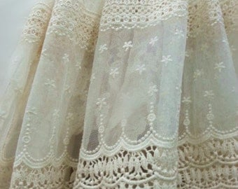 ivory  Lace fabric, Embroidered tulle lace fabric, vintage lace fabric, antique bridal lace, curtain fabric, tulle lace fabric ON SALE