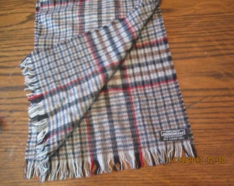 Gorgeous Plaid Lambswool Scarf made in West Germany Neutral Colors