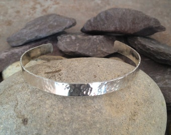 Sterling Silver Hammered Bracelet Hammered Bangle Hammered Cuff UK Shop   Birthday Gift  Valentines Day Gift