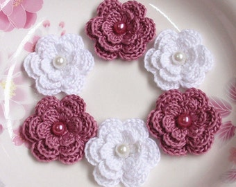 6 Crochet Flowers With Pearls In White, Rose Mauve YH-011-51
