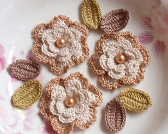 3 Crochet  Flowers With Leaves YH - 069-02
