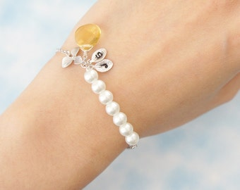 Pearl with Orchid Flower and Birthstone Bracelet. Personalized Bracelet. Wedding Bracelet. Bridesmaid Gift