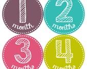Monthly Baby Milestone Stickers Baby Girl One-Piece Baby Stickers Monthly Baby Stickers Baby Month Sticker 603
