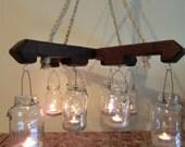 Mason Jar candle light, porch/patio light, Rustic, Chandelier, farmhouse decor