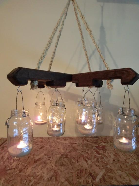 Mason Jar candle light porch patio light Rustic Chandelier