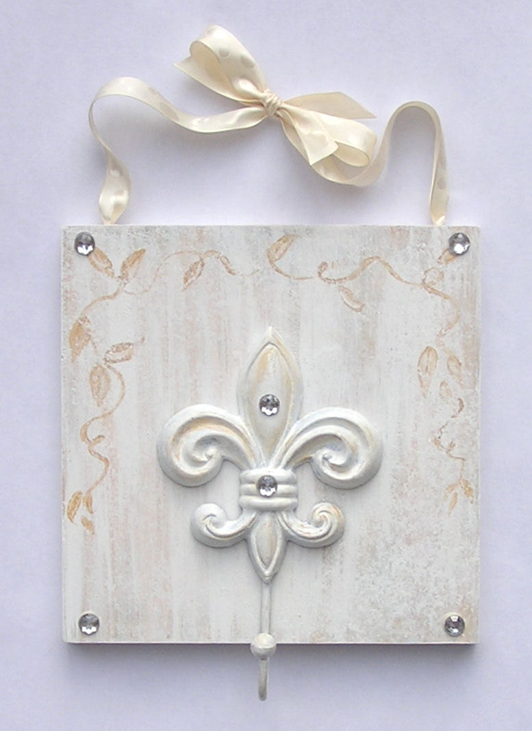 shabby chic wall hook wall hooks french decor fleur de lis. Black Bedroom Furniture Sets. Home Design Ideas