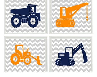 Construction Trucks Art Print Set - Baby Toddler Boy Room Nursery Gray Chevron Orange Navy Blue - Wall Art Home Decor