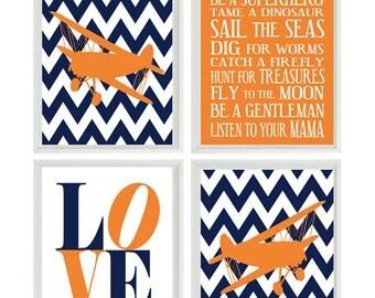Airplane Nursery Art - Chevron Navy Blue Orange Boy Room Aviation Flying - Boy Rules LOVE - Baby Boy Nursery Toddler Big Boy Room Wall Art
