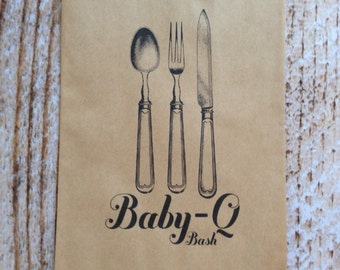 25 Baby-Q Bash Silverware Pouches