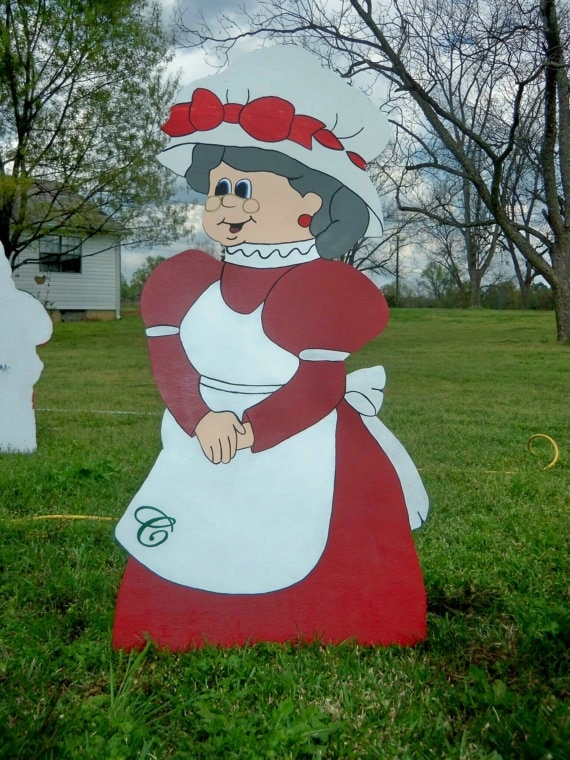 funny santa christmas yard decorations from wood | 48 Mrs. Santa Christmas Wooden Yard Art