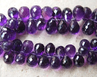 30 Pcs of Extremely Beautiful,Superb,Finest Quality,Purple Amethyst Micro Faceted Drops Shape Briolettes,11-12mm size