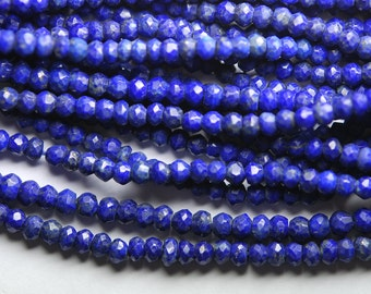 3x14 Inch Long Strand-Super-AAA Quality, LAPIS LAZULI Micro Faceted Rondells, 3mm Size