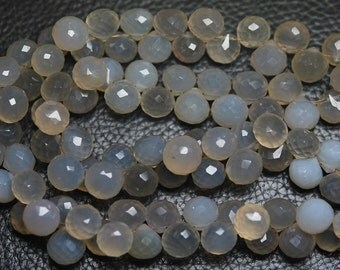 8 Inches Strands,Grey Chalcedony Faceted Onion Shape Briolettes 8-7mm