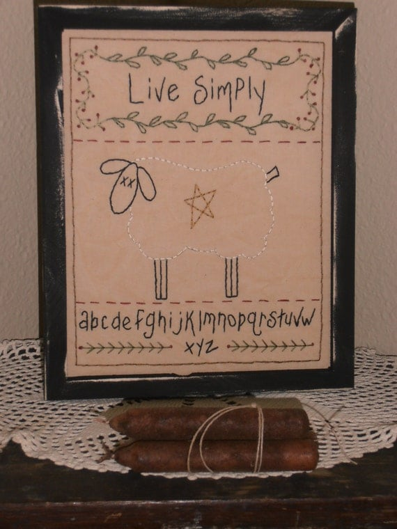 Live Simply, Framed Primitive Stitchery, Home Decor, Cabin Decor, Country Home, Rustic, Farmhouse Decor, Handstitched, Prim Sheep