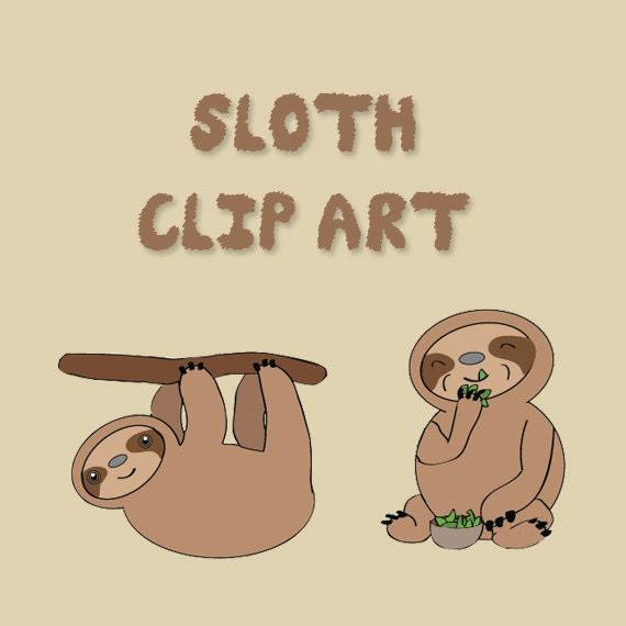 Items similar to Set of 5 Cute Sloth's Clip Art - PDF ...