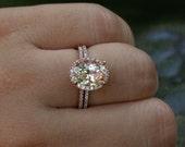 Morganite Engagement Ring Diamond Wedding Ring Set in 14k Rose Gold, 9x7mm Pink Peach Morganite and Half Diamond Eternity Band.