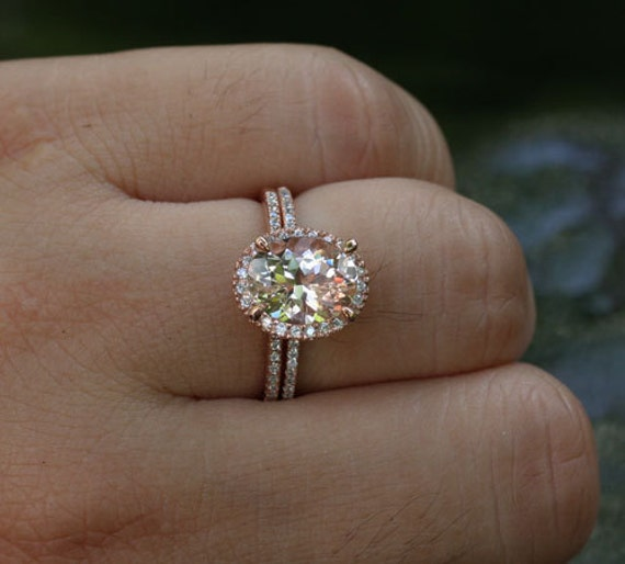 Morganite Engagement Ring Diamond Wedding Ring Set in 14k Rose
