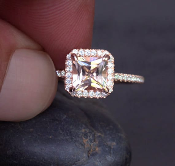 Peach Morganite Ring Diamond Halo Ring 14k Rose Gold Ring with