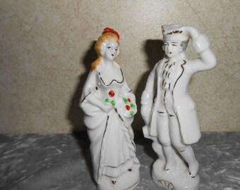 1940's Hand Painted Figurine Set  ( Old Japan )