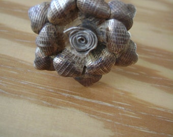 old textured flower ring, silver, adjustable