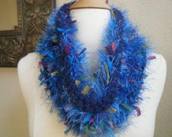Got The Blues?  Fuzzy, fun, knit cowl.  Girls, Teens, Women.