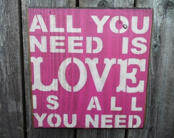 wooden sign, all you need is love, subway art, wall decor, shabby chic