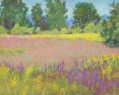 "Original Pastel Landscape Painting, yellow, purple, field of gold, meadow, Rochester, NY - ""Goldenrod and Loosestrife"" by Colette Savage"