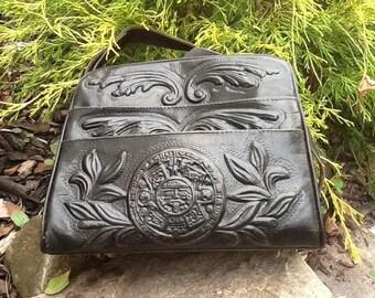 Southwestern Aztec Hand Tooled Leather Handbag