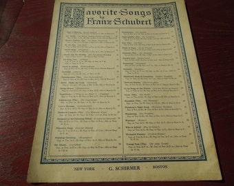Vintage Sheet Music.  Favorite Songs by Franz Schubert.  G. Schirmer